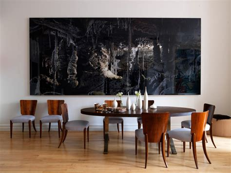 abstract art enhances traditional dining room 10 dining rooms with oversized art
