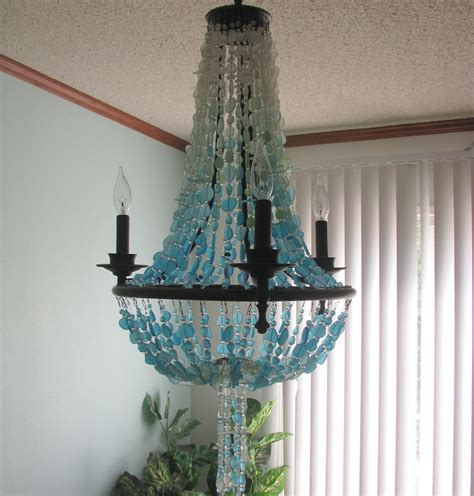 Sea Glass Chandeliers Sea Glass Lighting Fixture Chandelier Coastal Decor