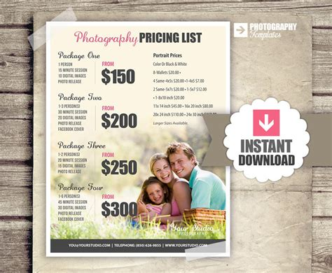 photography price list template photography price list pricing list for photographers