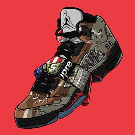 wallpaper jordan cartoon sneaker art supreme v quot camo quot sneaker art pinterest