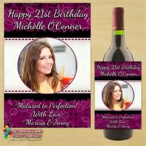 personalised black amp purple floral happy birthday wine