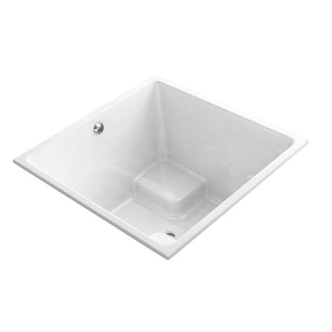 square bathtub shop kohler underscore 48 in white acrylic square drop in
