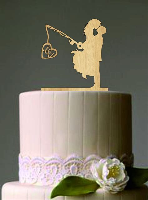 Unique Wedding Cake Topper, Wedding Couple Fishing Pole