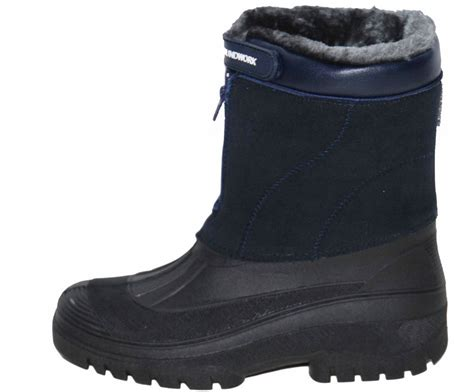 mens fur snow boots mens groundwork navy blue fur lined mid calf warm winter