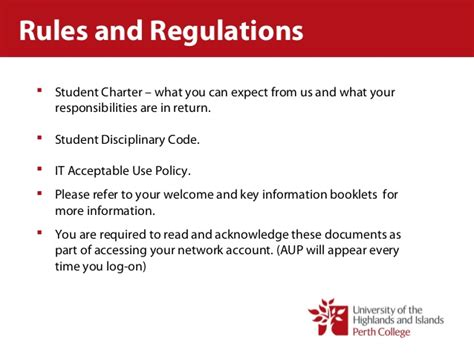 perth college student services and regulations