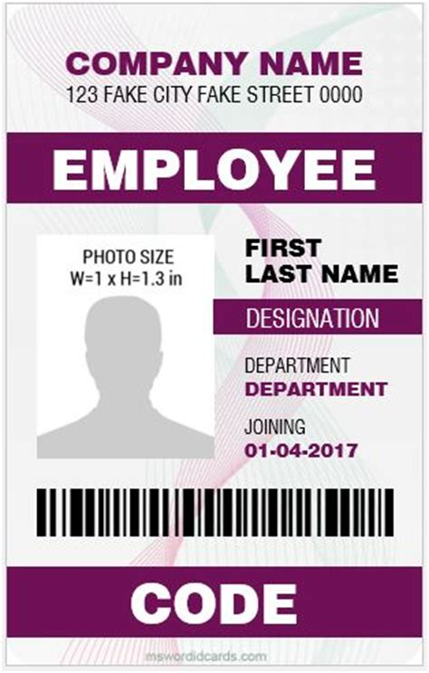 employee id card design sles 5 best vertical design employee id cards microsoft word