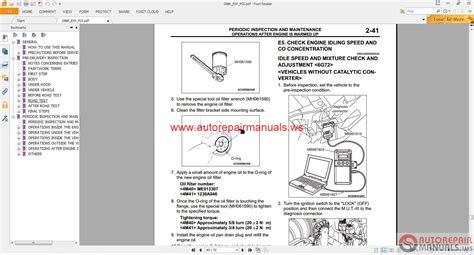 car repair manuals online pdf 2009 mitsubishi eclipse seat position control mitsubishi pajero ge 2008 service manual auto repair manual forum heavy equipment forums