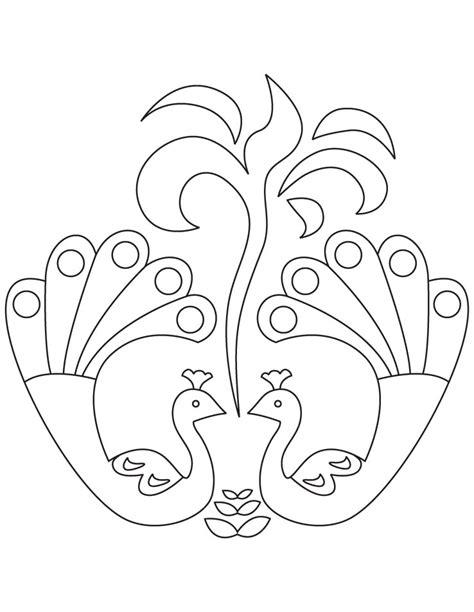 peacock rangoli coloring pages