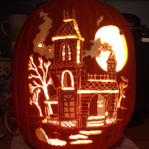 pumpkin pattern haunted house haunted house pattern by stoneykins carved on a foam
