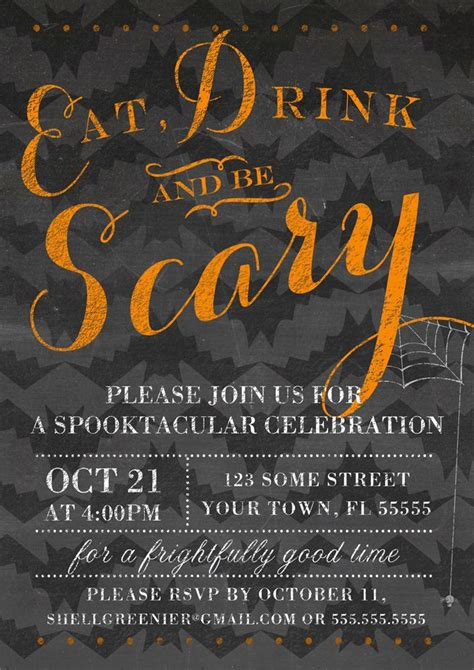 chalkboard halloween party invitation eat drink and be
