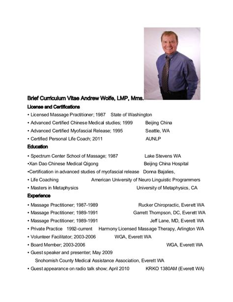 Curriculum Vita Briefformat Brief Curriculum Vitae For Andrew Wolfe Therapist