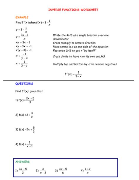 Verifying Inverses Worksheet by Inverse Functions Worksheet Lesupercoin Printables Worksheets