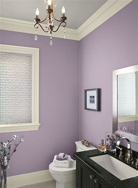 pretty playful purple bathroom paint walls gray trim