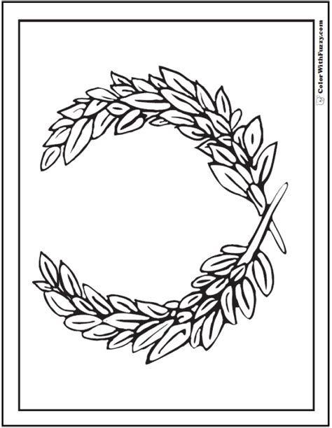 printable laurel leaves leaf geometric coloring page wreath of laurel