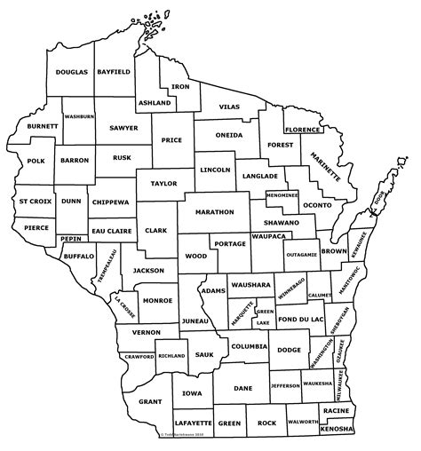 map of wisconsin counties wisconsin county map with names