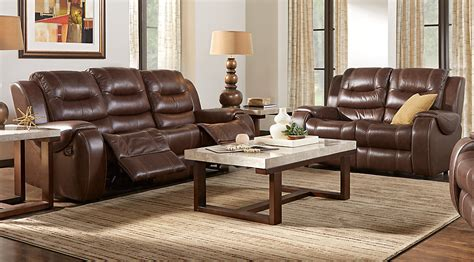 Veneto Brown Leather 7 Pc Living Room Leather Living Brown Sofas In Living Rooms