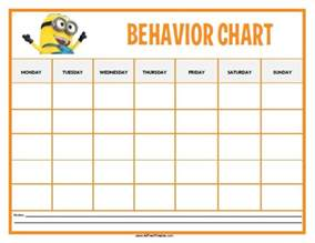 Toddler Behavior Chart Template by Free Printable Minions Behavior Chart Toddlers And