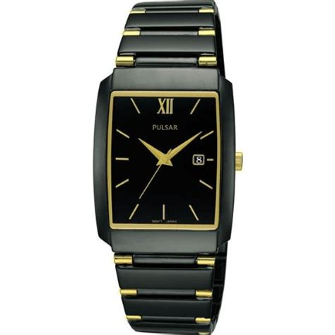 pulsar pxq539x1 mens black dress with gold accents