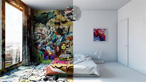 interior architecture make artistic sense of your yarı beyaz yarı grafiti aynı otel odasında iki farklı