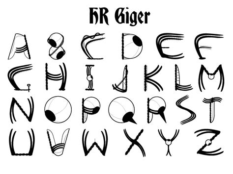 design font pic hr giger style font design by refusecollector on deviantart