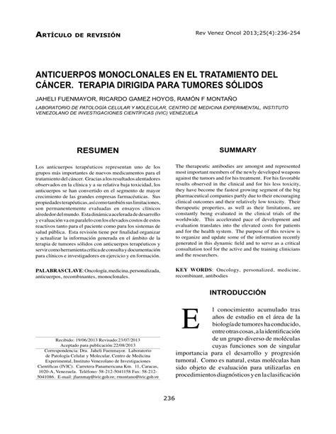 (PDF) ANTICUERPOS MONOCLONALES EN EL TRATAMIENTO DEL