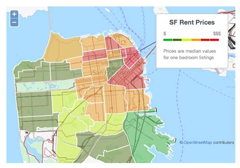 san francisco rental map the san francisco rent explosion