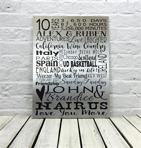 10 year anniversary gift for him metal wall art tin