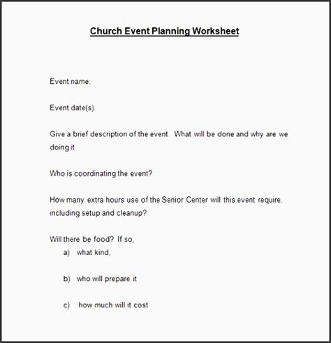 11 Free Church Event Planning Checklist Template To Download Sletemplatess Sletemplatess Church Event Planning Checklist Template