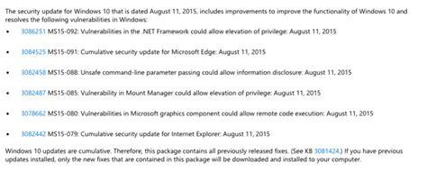 microsoft rolls out kb3116908 cumulative update for microsoft rolls out second cumulative update for windows 10