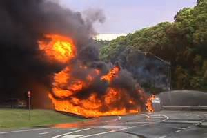 boat on fire driving down road toxic spill clean up continues after fatal tanker crash at