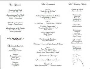 wedding bulletin templates sle wedding reception program just b cause