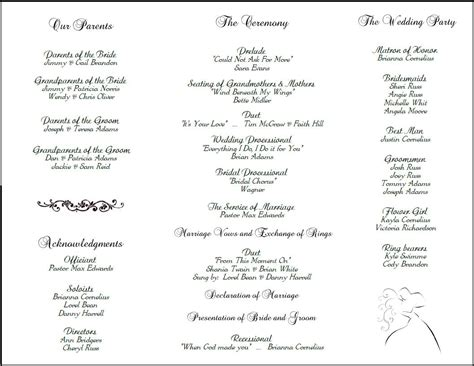 wedding reception agenda template exle of wedding programs wedding program back