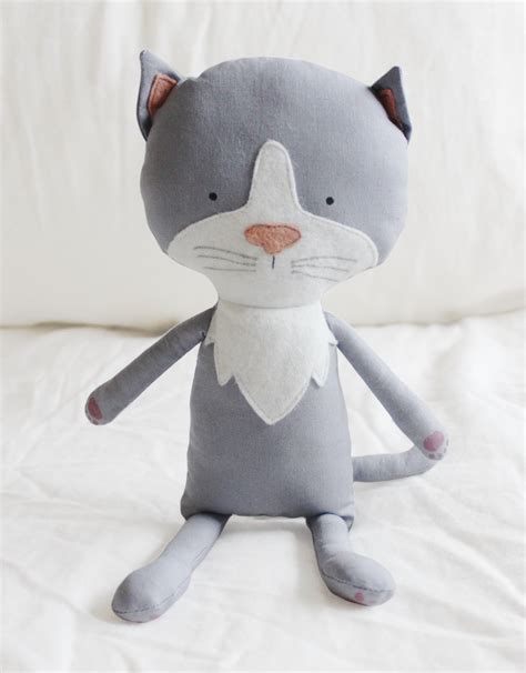 Handmade Stuffed Toys - kitten cat sewing pattern softie plush cloth doll