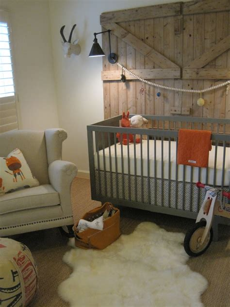 Wooden Nursery Decor Neutral Baby Room Design With Broken White Painted Wall And White Stained Wooden Baby Crib Also