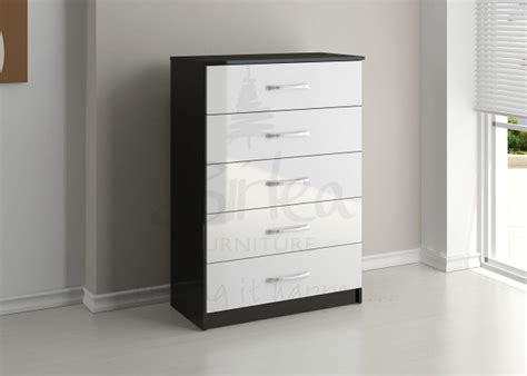 Black And White Gloss Chest Of Drawers by Birlea Lynx Black With White Gloss 5 Drawer Chest Of