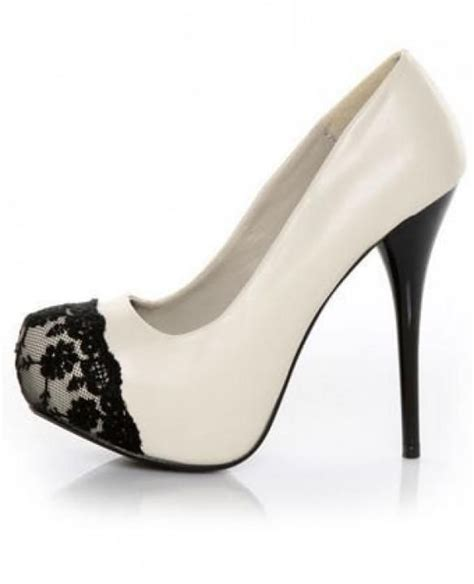 pretty shoes white and black lace heels grown up dress up