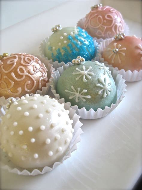 pretty pastel christmas cake ornament balls pictures