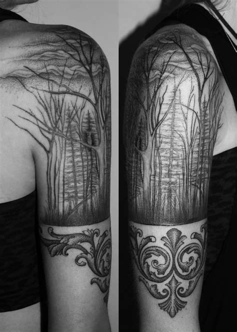 half sleeve tree tattoos 40 made forest design ideas golfian
