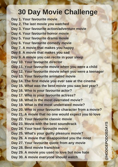 what s the 30 day movie challenge all about hodgepodgedays