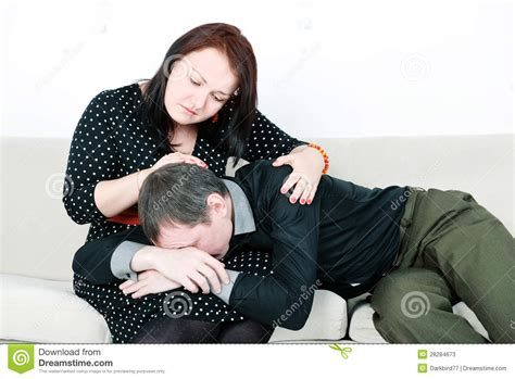 how to comfort a crying woman woman comforting her crying man stock image image 28284673