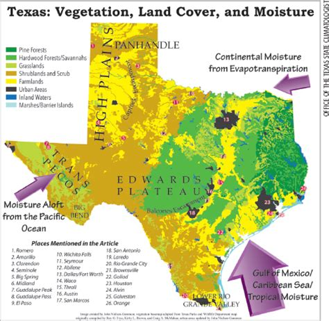 geography of texas map weatherwise magazine september october 2016