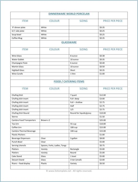 html product list template product price list template for free page 8