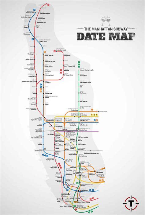 subway map for manhattan thrillist maps the best date spot near every manhattan