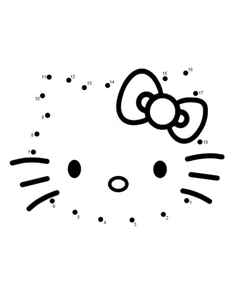 free coloring pages of hello kitty dot to dot
