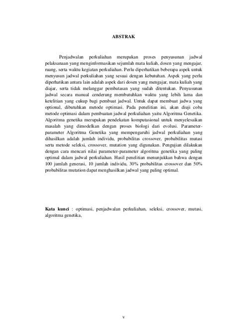 Algoritma Genetika Metode Komputasi Evolusioner Untuk Menyelesaikan optimasi penjadwalan mata kuliah dengan menggunakan algoritma genetik