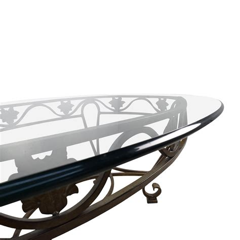 diogo cast iron base glass top accent table 24336 90 off iron cast glass top antique coffee table tables