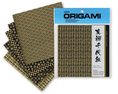 Origami Paper 6x6 - buy origami paper yuzen black gold 6x6 5 sheets