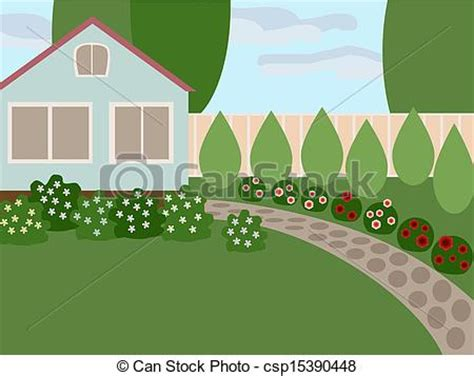 Backyard Cottages eps vector of country house with lawn and blooming flowers