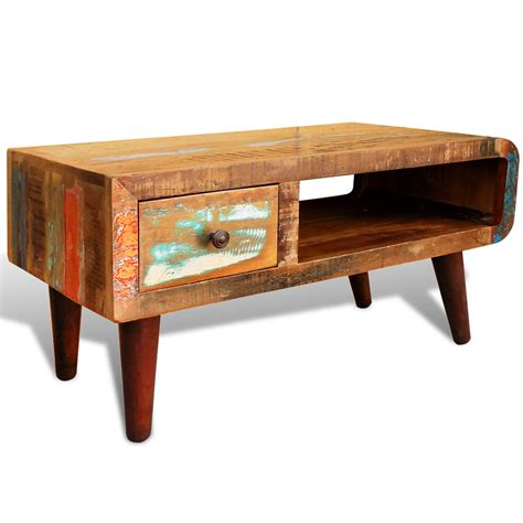 Curved Coffee Table by Antique Style Reclaimed Wood Coffee Table Curved Edge Vidaxl