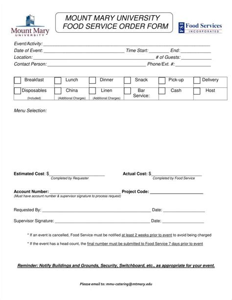 catering order form template 8 catering order form free sles exles